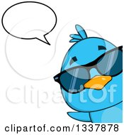 Clipart Of A Cartoon Happy Blue Bird Wearing Sunglasses And Peeking Around A Corner And Talking Royalty Free Vector Illustration