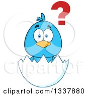Clipart Of A Cartoon Confused Blue Bird In An Egg Shell Royalty Free Vector Illustration by Hit Toon