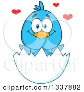 Cartoon Happy Blue Bird In An Egg Shell With Hearts by Hit Toon