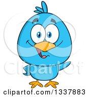 Cartoon Blue Bird Waving by Hit Toon
