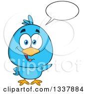 Clipart Of A Cartoon Blue Bird Talking And Waving Royalty Free Vector Illustration