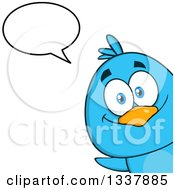 Clipart Of A Cartoon Happy Blue Bird Peeking Around A Corner And Talking Royalty Free Vector Illustration