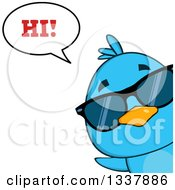 Clipart Of A Cartoon Happy Blue Bird Wearing Sunglasses And Peeking Around A Corner And Saying Hi Royalty Free Vector Illustration