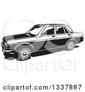 Clipart Of A Retro Black And White Datsun 1300 Sedan Car Royalty Free Vector Illustration