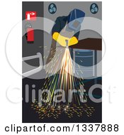 Clipart Of A Worker Cutting Iron In A Shop Royalty Free Vector Illustration