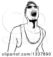 Clipart Of A Black And White Young Man Wearing Sunglasses And Shouting At A Party Royalty Free Vector Illustration