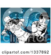 Clipart Of A Black And White Young Couple Dancing And Giving A Thumb Up Over Silhouetted People Blue Grunge Stars And Circles Royalty Free Vector Illustration by dero
