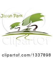Clipart Of A Bonsai Garden With A Path And Trees Under Text Royalty Free Vector Illustration