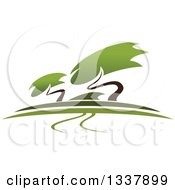 Clipart Of A Bonsai Garden With A Path And Trees Royalty Free Vector Illustration by Vector Tradition SM