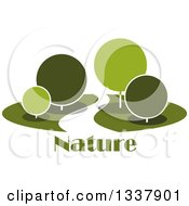 Clipart Of A Curvy Road Or Path Through A Park With Round Green Trees Over Nature Text Royalty Free Vector Illustration