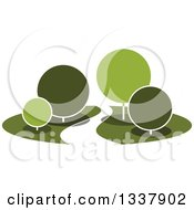 Clipart Of A Curvy Road Or Path Through A Park With Round Green Trees Royalty Free Vector Illustration by Vector Tradition SM
