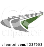 Clipart Of A Curvy Road With Barriers Royalty Free Vector Illustration