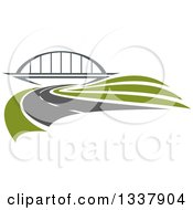 Clipart Of A Curving Two Lane Road Leading To A Bridge Royalty Free Vector Illustration