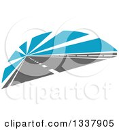 Clipart Of A Two Lane Road With Blue Rays Royalty Free Vector Illustration