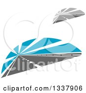 Clipart Of Two Lane Roads With Rays Royalty Free Vector Illustration