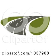 Clipart Of A Curving Two Lane Road With Green Grass Royalty Free Vector Illustration by Vector Tradition SM