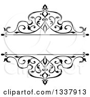 Clipart Of A Black And White Ornate Vintage Floral Frame Design Element With Text Space 4 Royalty Free Vector Illustration