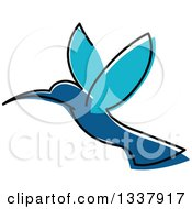 Clipart Of A Sketched Blue Hummingbird Royalty Free Vector Illustration