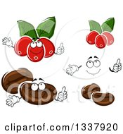 Clipart Of A Cartoon Face Hands Coffee Berries And Beans Royalty Free Vector Illustration by Vector Tradition SM
