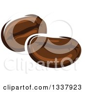 Clipart Of Cartoon Coffee Beans Royalty Free Vector Illustration