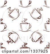 Clipart Of A Seamless Background Pattern Of Steamy Brown Coffee Cups 11 Royalty Free Vector Illustration