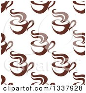 Clipart Of A Seamless Background Pattern Of Steamy Brown Coffee Cups 10 Royalty Free Vector Illustration