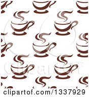 Clipart Of A Seamless Background Pattern Of Steamy Brown Coffee Cups 12 Royalty Free Vector Illustration