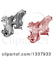 Clipart Of Retro Black And White And Red Capital Letter H With Flourishes Royalty Free Vector Illustration