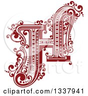 Clipart Of A Retro Red Capital Letter H With Flourishes Royalty Free Vector Illustration