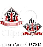 Clipart Of Red And Black Chess Pieces And Checker Boards Royalty Free Vector Illustration