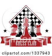 Clipart Of Red And Black Chess Pieces Against A Checker Board Above A Text Banner 2 Royalty Free Vector Illustration by Vector Tradition SM