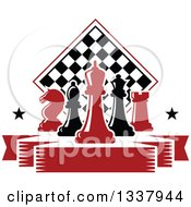 Clipart Of Red And Black Chess Pieces Against A Checker Board Above A Blank Banner With Stars Royalty Free Vector Illustration