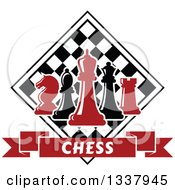 Clipart Of Red And Black Chess Pieces Against A Checker Board Above A Text Banner Royalty Free Vector Illustration