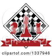 Clipart Of Red And Black Chess Pieces Against A Checker Board Above A Blank Banner Royalty Free Vector Illustration by Vector Tradition SM