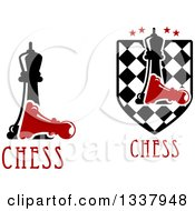Clipart Of Black Chess Queens Over A Fallen Red Pawns Royalty Free Vector Illustration