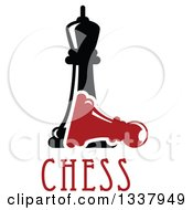 Clipart Of A Black Chess Queen Over A Fallen Red Pawn And Text Royalty Free Vector Illustration