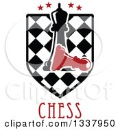 Black Chess Queen Over A Fallen Red Pawn On A Checker Shield With Stars And Text