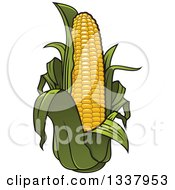 Clipart Of A Cartoon Corn And Leaves Royalty Free Vector Illustration