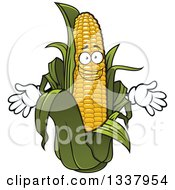 Clipart Of A Cartoon Happy Corn Character Royalty Free Vector Illustration