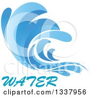 Clipart Of A Blue Splash Or Surf Wave With Water Text 9 Royalty Free Vector Illustration
