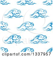 Clipart Of A Seamless Background Design Pattern Of Ocean Waves In Blue On White 4 Royalty Free Vector Illustration