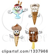 Clipart Of Cartoon Frozen Treat Characters Royalty Free Vector Illustration