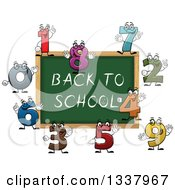 Clipart Of A Cartoon Chalkboard With Back To School Text And Number Characters Royalty Free Vector Illustration by Vector Tradition SM