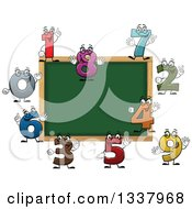 Clipart Of A Cartoon Blank Chalkboard With Number Characters Royalty Free Vector Illustration