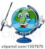 Cartoon Desk Globe Character Holding Up A Finger And A Pointer Stick