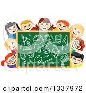 Cartoon Chalkboard And Happy School Children With Supplies Drawn