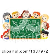 Clipart Of A Cartoon Chalkboard And Happy School Children With Supplies Drawn Royalty Free Vector Illustration by Vector Tradition SM