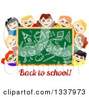 Clipart Of A Cartoon Chalkboard And Happy School Children With Supplies Drawn Over Text Royalty Free Vector Illustration