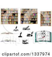 Clipart Of Books And Shelves Royalty Free Vector Illustration