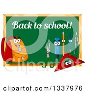 Clipart Of A Cartoon Chalkboard With Back To School Text And Supply Characters Royalty Free Vector Illustration